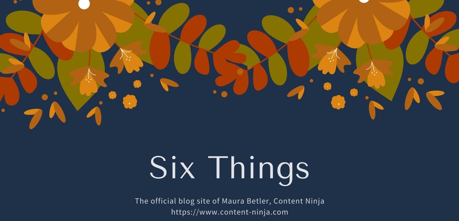 Six Things ~ Maura Betler, Content Ninja